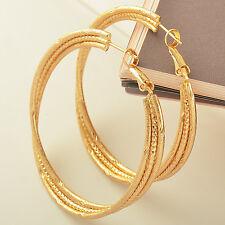 Stunning 9K Solid Gold Plated Womens Hoop Earrings,Z1758