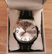 FUN!!  Nine West Women's Watch Denim and Leather Band Silver Analog Face New
