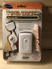 New iConcepts iPod Wall & Travel Charger Sync Cable High Speed Retractable MP3