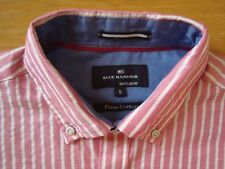 BNWT MENS Small M&S PURE COTTON SHIRT Short Sleeved Pink Stripe