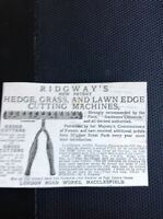 K1-8 Ephemera Advert 1885 Ridgway's Hedge  Lawn Cutting Machines Macclesfield