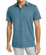 Tasso Elba Mens Shirt Blue Size Large L Button Down Textured Solid $49 #001