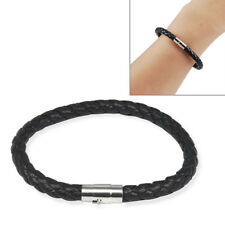 6mm Mens Genuine Leather Braided Wristband Bracelet Stainless Steel Clasp I8n2
