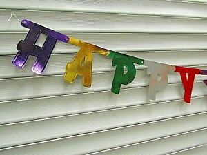Happy Birthday Foil Metallic Letter Banner Bunting Length 2.73m Party Decoration