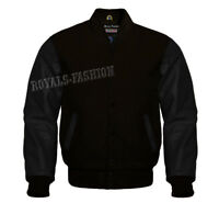 Premium Varsity Letterman Baseball Wool & Genuine Leather Sleeves Black jacket