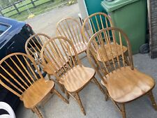 6 Solid Wood Spindle Back Dining Chairs
