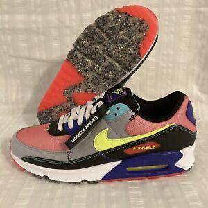 Nike Air Max 90 SE Exeter Edition Neon Shoes DJ5917 Red Volt Black Grind Sz 13