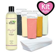 Kit Completo Ceretta Rullo 6 Ricariche Refill + 100 Strisce + Post Depilazione
