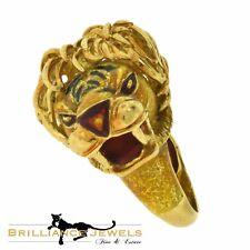 Rare European Yellow Gold Lion Head Designer Color Enamel Vintage Ring