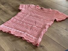 OLEANA Of Norway Peachy Coral Knit Scallop Trim Sweater Blouse SZ Small S 5267