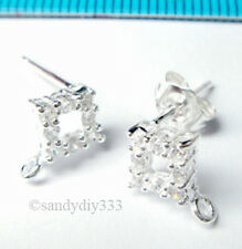 2x STERLING SILVER CZ SQUARE STUD LOOP POST EARRING 6mm J044