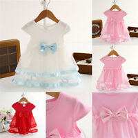 Kids Baby Girl Newborn Princess Bow Tutu Bodysuit Romper Dresses Clothes Skirt