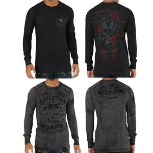 """AFFLICTION """"DON'T TREAD ON ME"""" Skull Roses Mens LARGE L/S T shirt NEW A19980 Tee"""