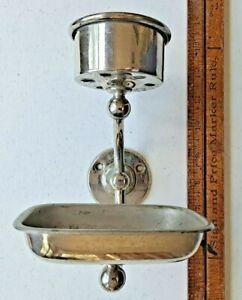 Antique Wall Mount Soap Dish Cup Holder Bathroom Fixture Plated Brass
