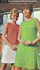 """458 Ladies DK Crochet Jacket & Dress 32-38"""" Vintage Crochet Pattern"""