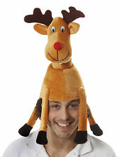 2 X FABRIC RUDOLPH THE RED NOSE REINDEER CHRISTMAS FANCY DRESS PARTY NOVELTY HAT