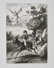 Henri RIBALLIER - Eau forte signée - Les voleurs et l'âne de La Fontaine