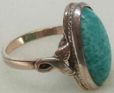 Vintage 10K GOLD-FILLED by CLARK & COOMBS Oval JADEITE Ring (SIZE: 5.5) ~ RARE!