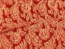 """Vtg French Silk Blend Velvet Red Gold Lame Fabric Wilmart Paris 36 x 107"""""""