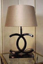 Edle Tischlampe Colmore Schwarz CC Design Lampenschirm Samt Modern 61cm NEU