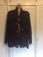 Designer Nitya Sheer Embroidered Flowing Jacket w Side Splits Long Sleeves Sz 18