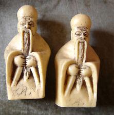 lot de 2 bougies de Moines - Asie - japon - chine de 15cm de haut - vintage