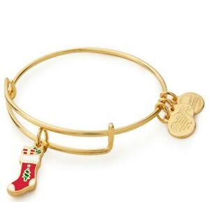 ALEX AND ANI Charm Bangle Bracelet CHRISTMAS STOCKING Rafaelian GOLD BRAND GIFT