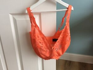 BNWT NEW M&S ORANGE WILD BLOOMS DD+ FULL CUP WIRED BRA NON SLIP STRAPS 36H