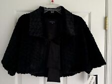 MARINA Faux Fur Collared Front Tie Women's Black Shrug Jacket Size S NWT $99