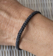 Bracelet brésilien amitié fil de coton ciré tresse porte bonheur Noir 21150