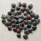 Natural Bloodstone stone heart shape Charms pendants 16mm 50pcs/lot Wholesale