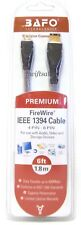 BAFO Premium IEEE 1394 Firewire / Sony i.LINK Cable 6FT 4/6 4Pin To 6Pin - NEW