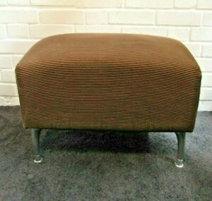 Brown Lined Cord Foot Stool with Four Brushed Steel Legs & Feet