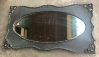 Huge Antique Victorian Beveled Oval Glass mirror Oak Wood Rope twist trim