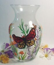HAND PAINTED VASE WITH LOVELY BUTTERFLIES AND FLOWERS
