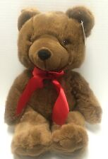 "Brown TEDDY BEAR Plush Stuffed toy red bow 13"" Tall By Look Again NWT"