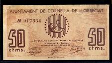209-INDALO- Ajuntament de Cornella de Llobregat. 50 Céntimos Mayo 1937. MBC !!!!