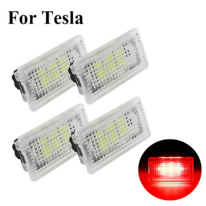 4PCS Red LED Car Interior Lights Bright Trunk Door Step For Tesla Model S 3 X