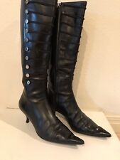 Oscae de la Renta Black Leather Knee High Boots Size 40 US 9.5