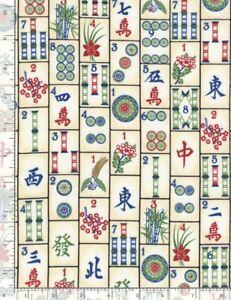 Chinese Fabric - Mah Jong Mahjong Tiles Cream -Timeless Treasures YARD