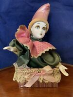 HARLEQUIN Porcelain Doll Jester Clown Elegant Costume Collectible Music Box