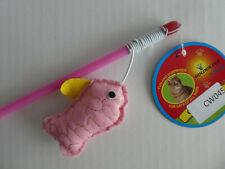 (CW045) Cat Kitten Teaser Wand Toy Pink Fish