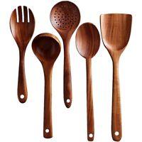 Wooden Utensils Set for Kitchen, Handmade Natural Teak Cooking Spoons WoodenA9T5