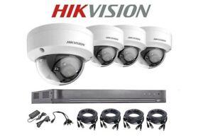 HIKVISION 4 x 5MP VANDAL PROOF DOME Camera CCTV KIT System BiTS 4Ch DVR 2TB UK