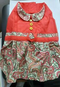 Hand Sewn Red and Paisley Dog Dress new! Size Small