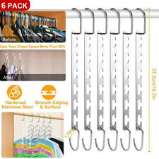 6pcs Wonder Metal Magic Hanger Clothes Rack Hooks Space Saver Closet Organizer