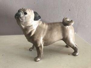 The Charm of Creamware PORCELAIN PUG DOG FIGURINE Heredities England