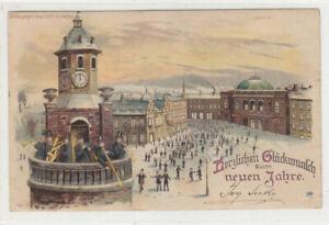 Postcard 1902 German New Year card with Bute Dock BO Cardiff Cancel
