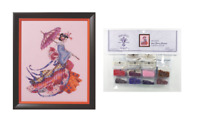 MIRABILIA Cross Stitch PATTERN & EMBELLISHMENT PACK Miss Cherry Blossom MD153