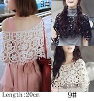 AU SELLER Bohemian Vintage Eyelet Crochet Lace Cape Shawl Top Vest t098-9